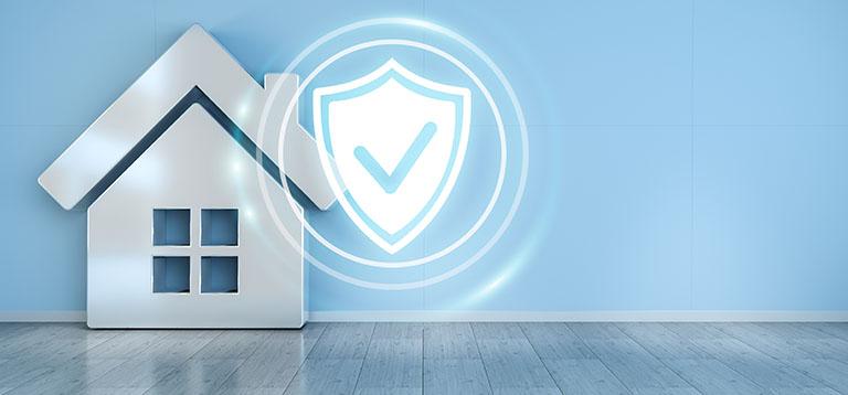 Haus und Symbol für Einbruchschutz